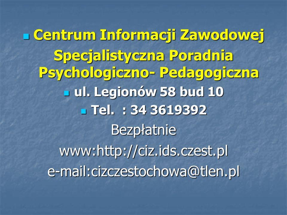 Centrum Informacji Zawodowej Centrum Informacji Zawodowej Specjalistyczna Poradnia Psychologiczno- Pedagogiczna ul. Legionów 58 bud 10 ul. Legionów 58