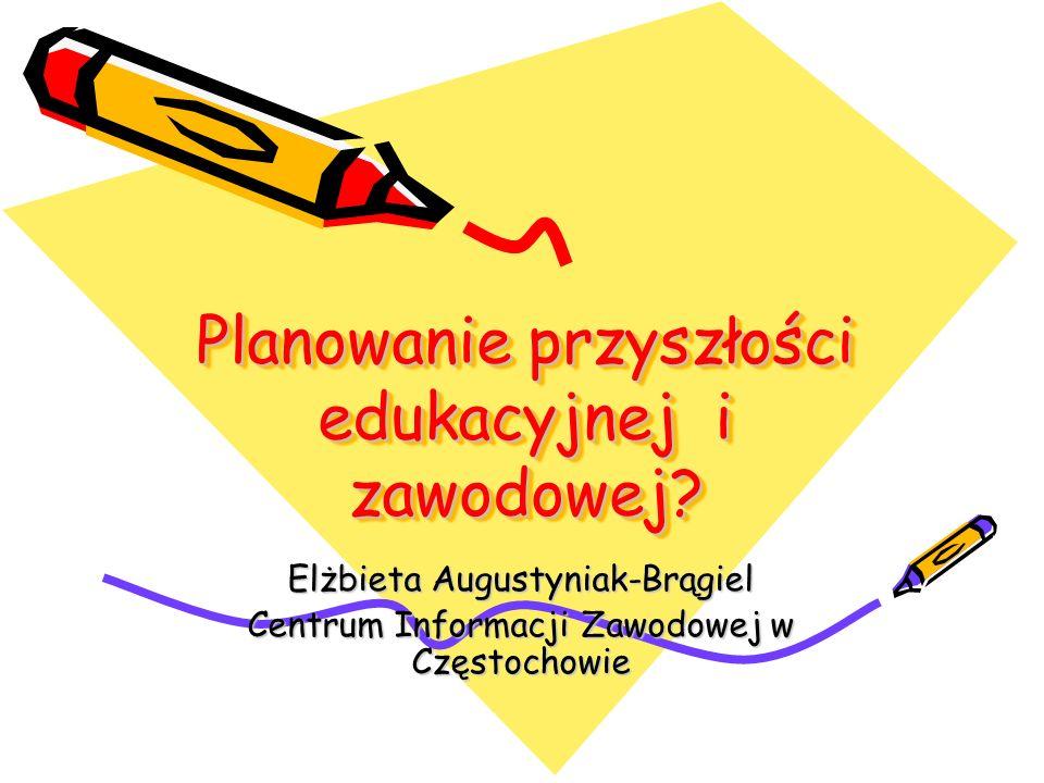 Planowanie przyszłości edukacyjnej i zawodowej? Elżbieta Augustyniak-Brągiel Centrum Informacji Zawodowej w Częstochowie