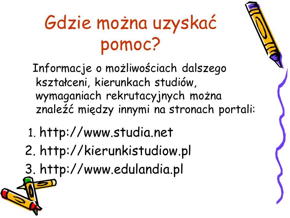 Gdzie można uzyskać pomoc? Informacje o możliwościach dalszego kształceni, kierunkach studiów, wymaganiach rekrutacyjnych można znaleźć między innymi