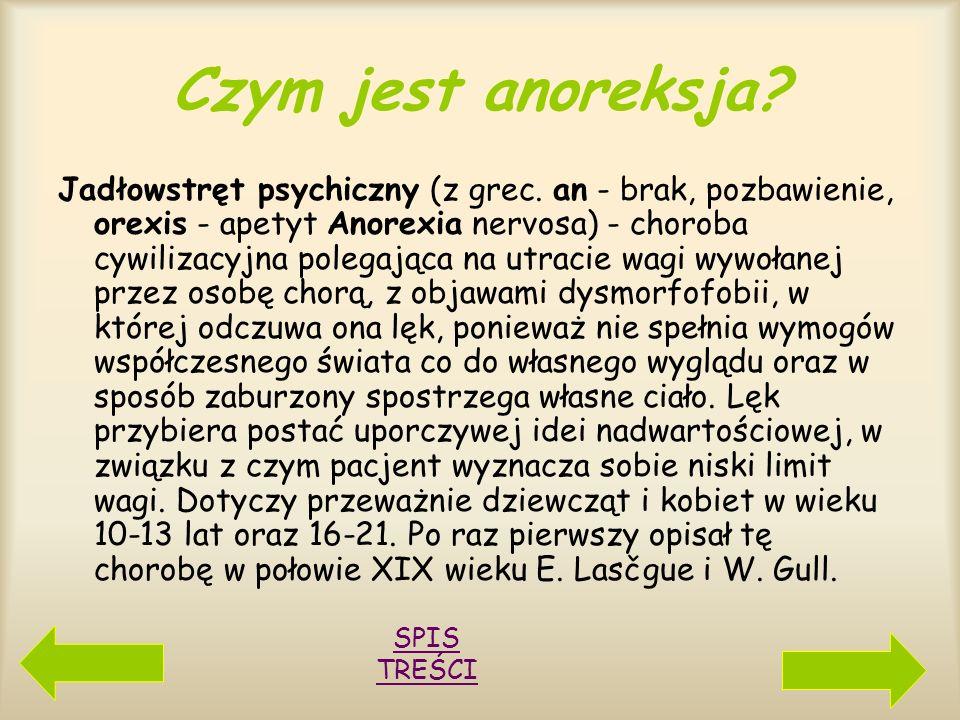 SPIS TREŚCI Czym jest anoreksja? 1 2 Główne cechy anoreksji Powszechnie w anoreksji występują Powszechnie w anoreksji występują Kryteria diagnostyczne