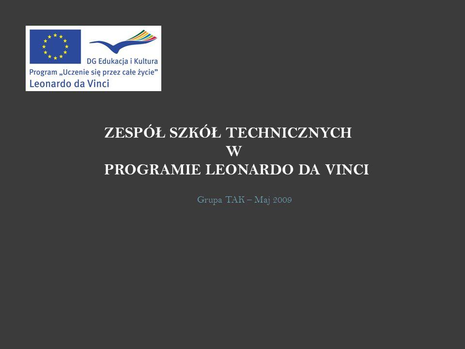 ZESPÓ Ł SZKÓ Ł TECHNICZNYCH W PROGRAMIE LEONARDO DA VINCI Grupa TAK – Maj 2009