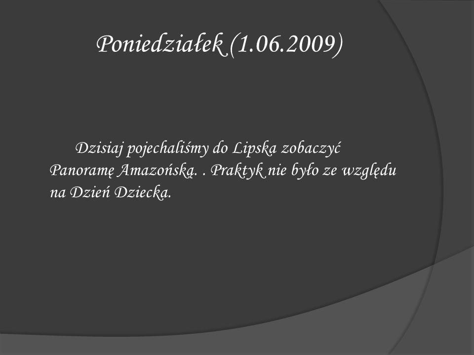 Poniedziałek (1.06.2009) Dzisiaj pojechaliśmy do Lipska zobaczyć Panoramę Amazońską.. Praktyk nie było ze względu na Dzień Dziecka.