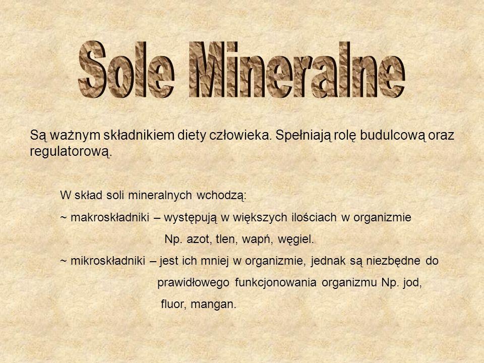 Są ważnym składnikiem diety człowieka. Spełniają rolę budulcową oraz regulatorową. W skład soli mineralnych wchodzą: ~ makroskładniki – występują w wi