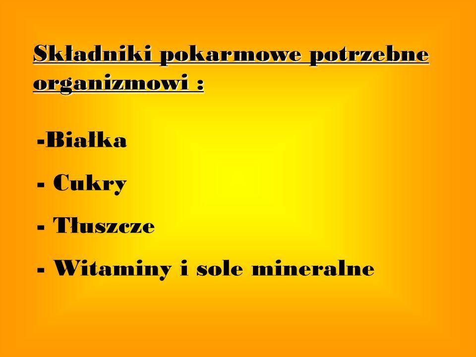 Składniki pokarmowe potrzebne organizmowi : -Białka - Cukry - Tłuszcze - Witaminy i sole mineralne