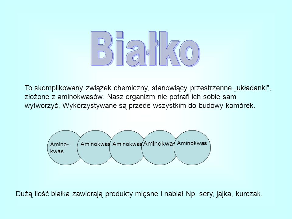 To skomplikowany związek chemiczny, stanowiący przestrzenne układanki, złożone z aminokwasów. Nasz organizm nie potrafi ich sobie sam wytworzyć. Wykor