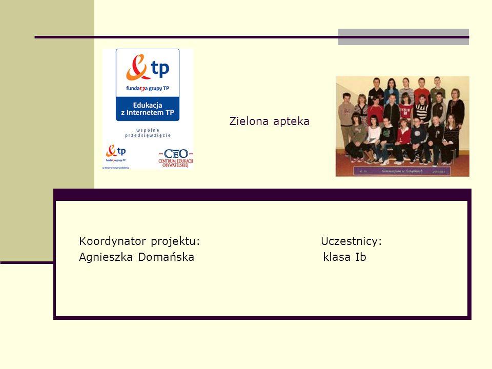 Zielona apteka Koordynator projektu: Uczestnicy: Agnieszka Domańska klasa Ib