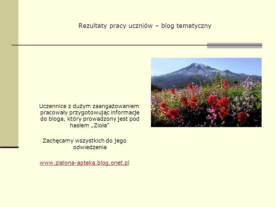 Rezultaty pracy uczniów – blog tematyczny Uczennice z dużym zaangażowaniem pracowały przygotowując informacje do bloga, który prowadzony jest pod hasł