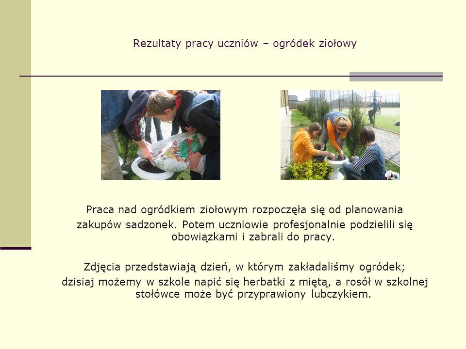 Rezultaty pracy uczniów – ogródek ziołowy Praca nad ogródkiem ziołowym rozpoczęła się od planowania zakupów sadzonek. Potem uczniowie profesjonalnie p