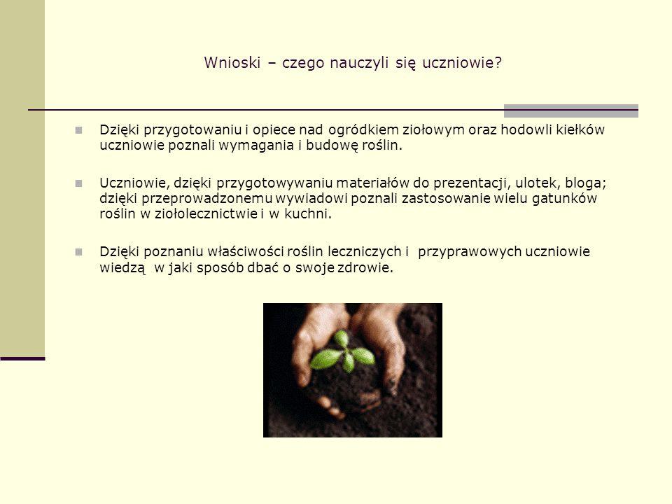 Wnioski – czego nauczyli się uczniowie? Dzięki przygotowaniu i opiece nad ogródkiem ziołowym oraz hodowli kiełków uczniowie poznali wymagania i budowę