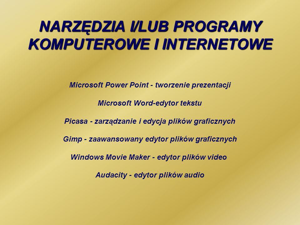 NARZĘDZIA I/LUB PROGRAMY KOMPUTEROWE I INTERNETOWE Microsoft Power Point - tworzenie prezentacji Microsoft Word-edytor tekstu Picasa - zarządzanie i e