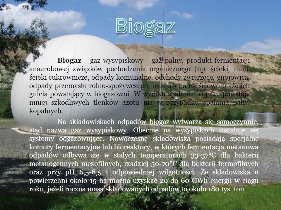 Biogaz - gaz wysypiskowy - gaz palny, produkt fermentacji anaerobowej związków pochodzenia organicznego (np. ścieki, m.in. ścieki cukrownicze, odpady