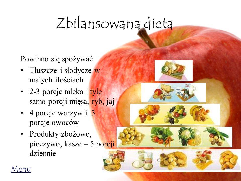 Zbilansowana dieta Powinno się spożywać: Tłuszcze i słodycze w małych ilościach 2-3 porcje mleka i tyle samo porcji mięsa, ryb, jaj 4 porcje warzyw i