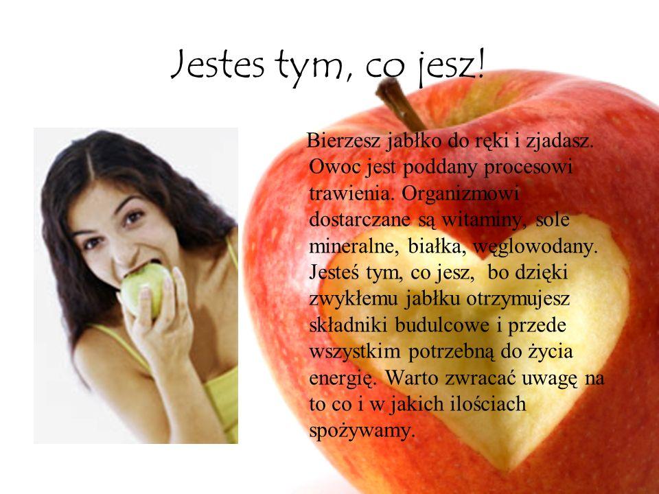 Jestes tym, co jesz! Bierzesz jabłko do ręki i zjadasz. Owoc jest poddany procesowi trawienia. Organizmowi dostarczane są witaminy, sole mineralne, bi