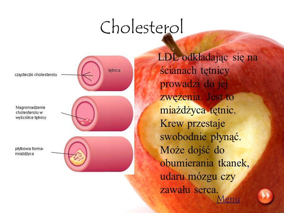 Cholesterol LDL odkładając się na ścianach tętnicy prowadzi do jej zwężenia. Jest to miażdżyca tętnic. Krew przestaje swobodnie płynąć. Może dojść do