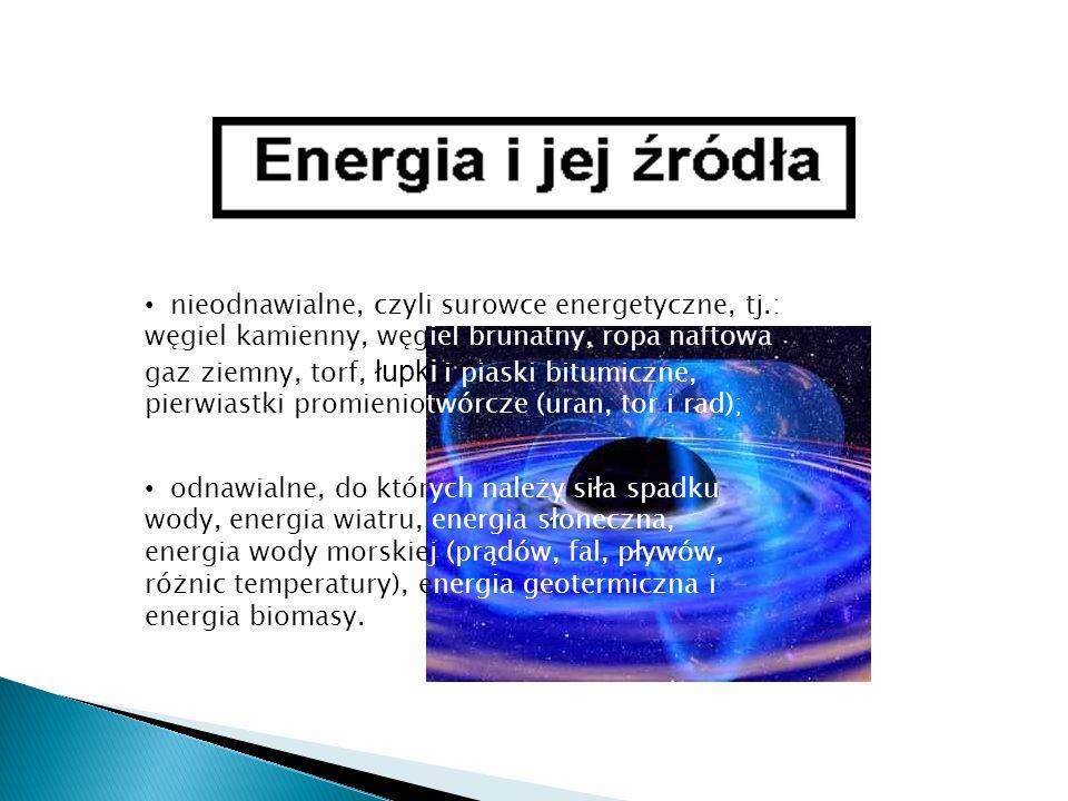 nieodnawialne, czyli surowce energetyczne, tj.: węgiel kamienny, węgiel brunatny, ropa naftowa, gaz ziemny, torf, łupki i piaski bitumiczne, pierwiast