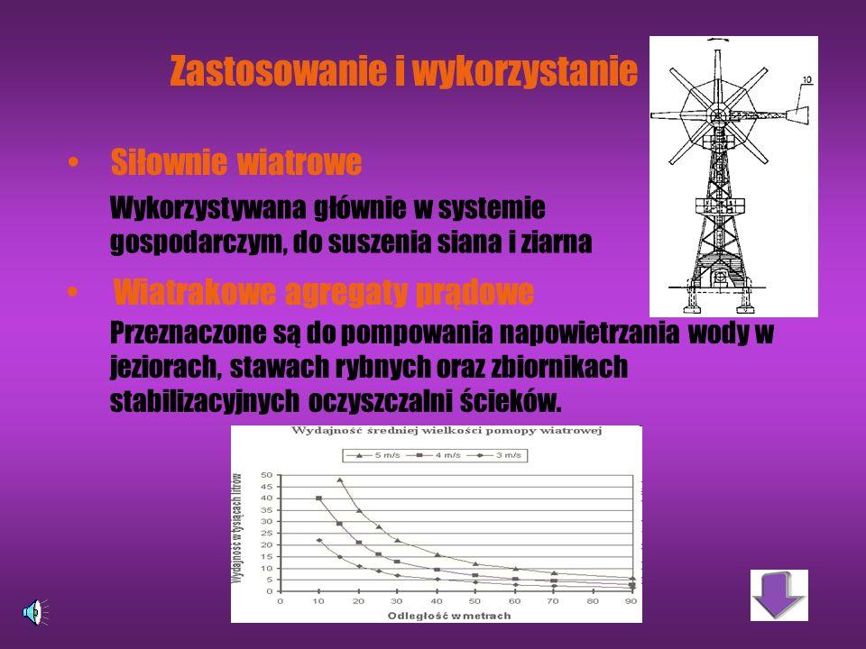 Z jakich wiatrów korzystać? Najkorzystniejsze: wiejące ze stałą prędkością w granicach 4-14 m/s na wysokości 70-150 m Nie nadają się: gwałtowne wiatry
