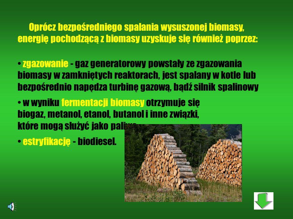 Najczęściej wykorzystuje się: drewno o niskiej jakości technologicznej oraz odpadowe odchody zwierząt osady ściekowe słomę, makuchy i inne odpady prod