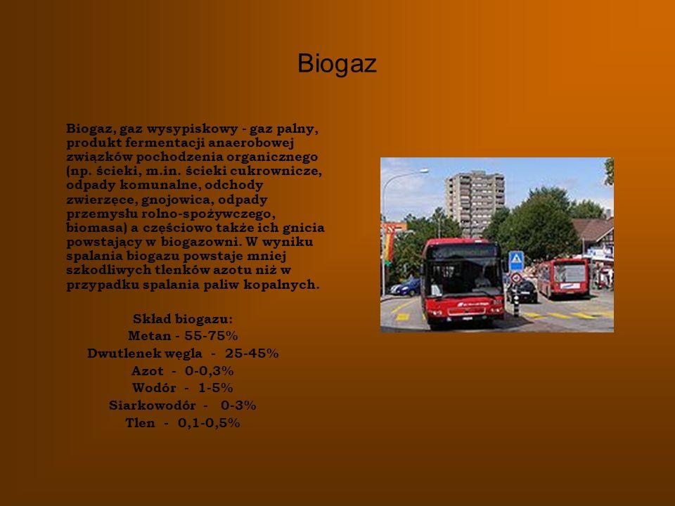 Biogaz Biogaz, gaz wysypiskowy - gaz palny, produkt fermentacji anaerobowej związków pochodzenia organicznego (np. ścieki, m.in. ścieki cukrownicze, o