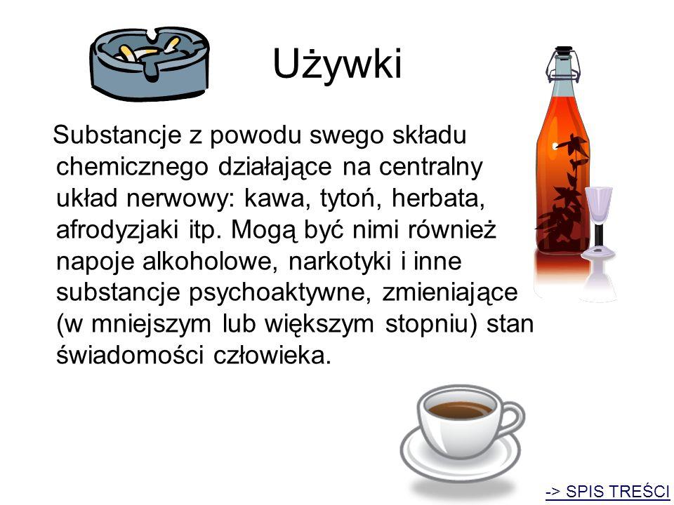 Używki Substancje z powodu swego składu chemicznego działające na centralny układ nerwowy: kawa, tytoń, herbata, afrodyzjaki itp. Mogą być nimi równie