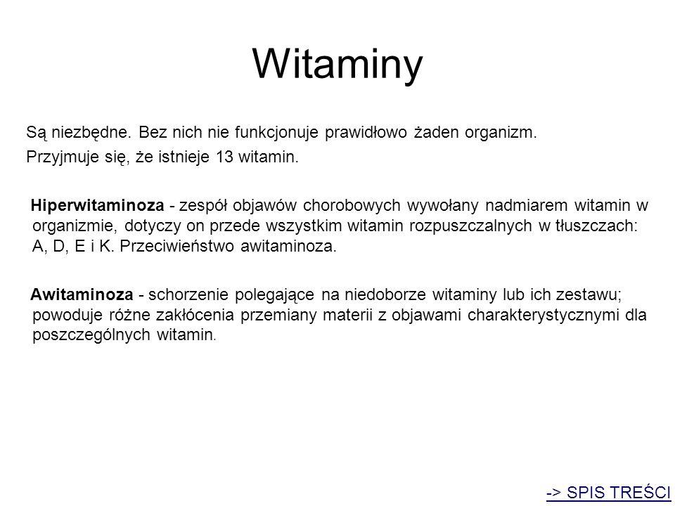 Witaminy Są niezbędne. Bez nich nie funkcjonuje prawidłowo żaden organizm. Przyjmuje się, że istnieje 13 witamin. Hiperwitaminoza - zespół objawów cho