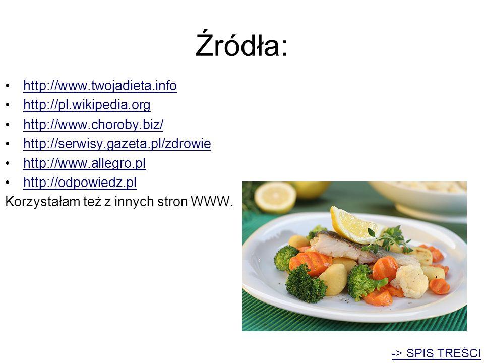Źródła: http://www.twojadieta.info http://pl.wikipedia.org http://www.choroby.biz/ http://serwisy.gazeta.pl/zdrowie http://www.allegro.pl http://odpow