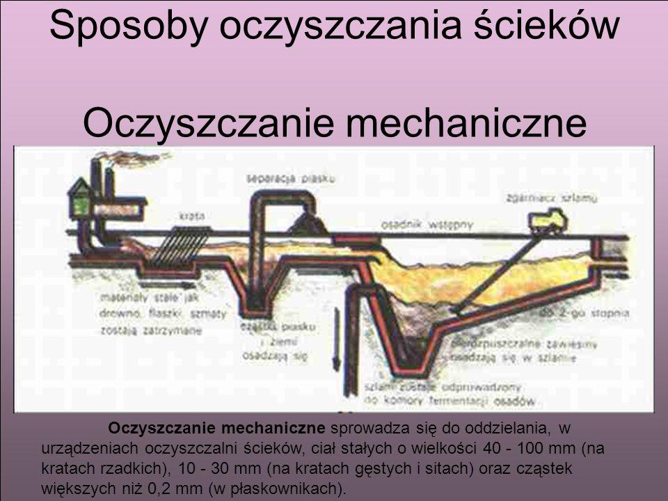 Sposoby oczyszczania ścieków Sposoby oczyszczania ścieków Oczyszczanie mechaniczne Oczyszczanie mechaniczne sprowadza się do oddzielania, w urządzenia