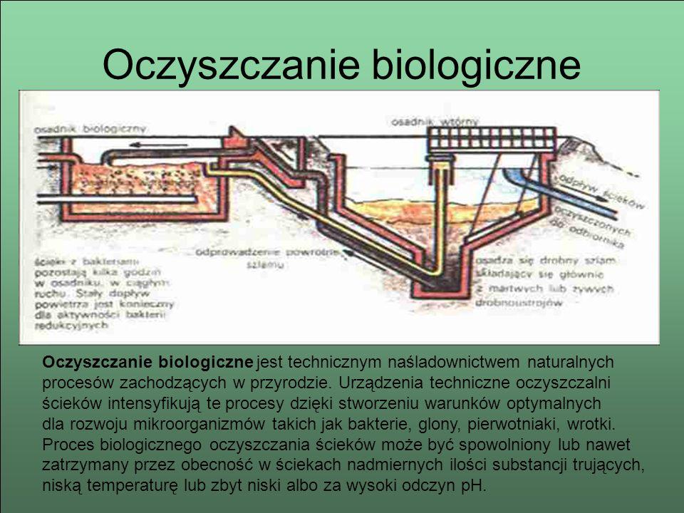 Oczyszczanie biologiczne Oczyszczanie biologiczne jest technicznym naśladownictwem naturalnych procesów zachodzących w przyrodzie. Urządzenia technicz