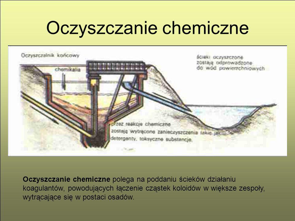Oczyszczanie chemiczne Oczyszczanie chemiczne polega na poddaniu ścieków działaniu koagulantów, powodujących łączenie cząstek koloidów w większe zespo