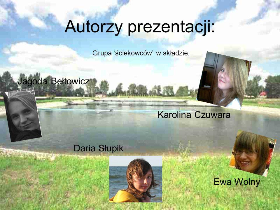 Autorzy prezentacji: Grupa ściekowców w składzie: Jagoda Bełtowicz Karolina Czuwara Daria Słupik Ewa Wolny