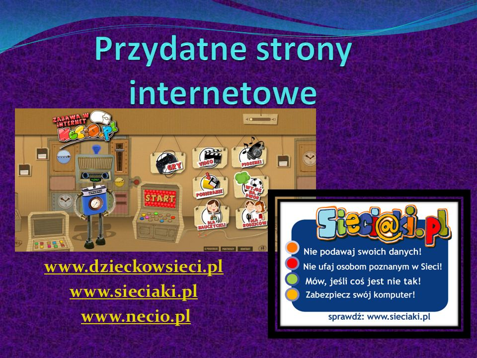 www.dzieckowsieci.pl www.sieciaki.pl www.necio.pl