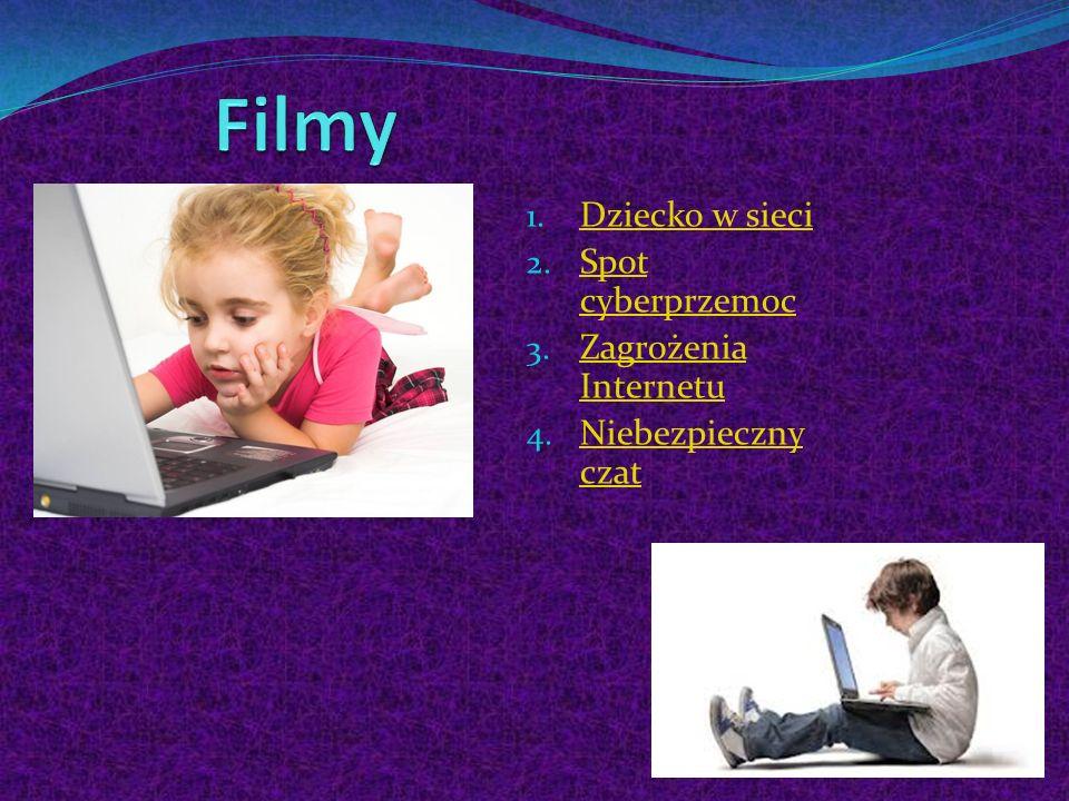 1. Dziecko w sieci Dziecko w sieci 2. Spot cyberprzemoc Spot cyberprzemoc 3. Zagrożenia Internetu Zagrożenia Internetu 4. Niebezpieczny czat Niebezpie
