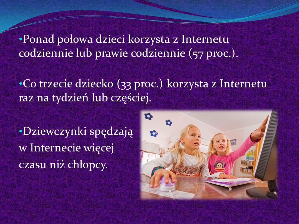 Ponad połowa dzieci korzysta z Internetu codziennie lub prawie codziennie (57 proc.). Co trzecie dziecko (33 proc.) korzysta z Internetu raz na tydzie