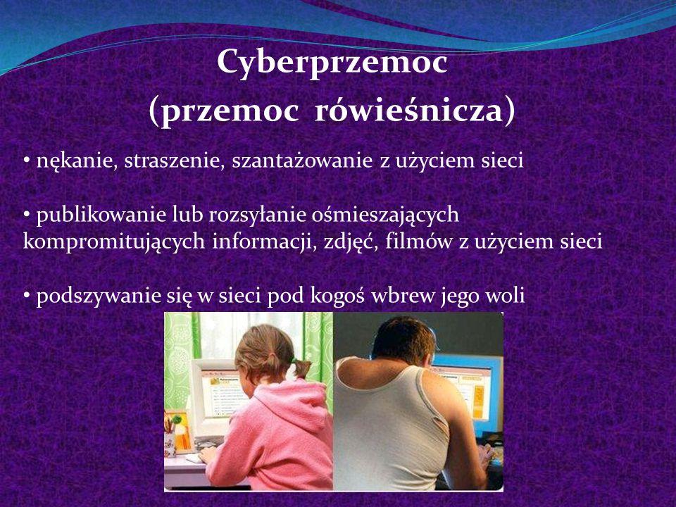 Cyberprzemoc (przemoc rówieśnicza) nękanie, straszenie, szantażowanie z użyciem sieci publikowanie lub rozsyłanie ośmieszających kompromitujących info