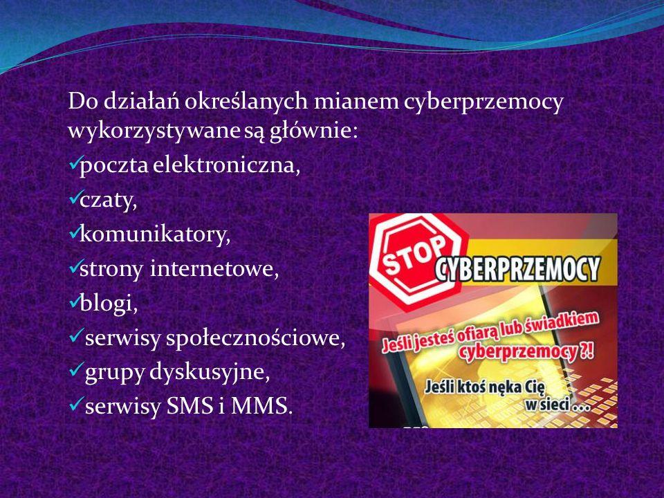 Do działań określanych mianem cyberprzemocy wykorzystywane są głównie: poczta elektroniczna, czaty, komunikatory, strony internetowe, blogi, serwisy s
