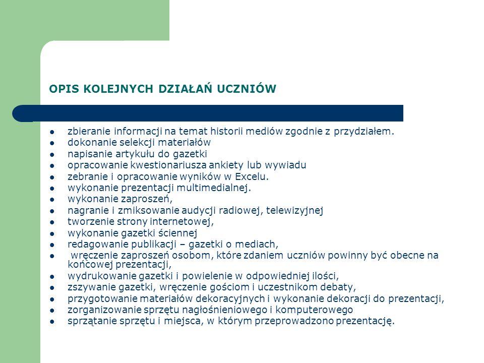 REZULTATY PRACY UCZNIÓW Strona internetowa: www.gimzel.zelechow.prv.pl Prezentacje multimedialne: Prasa, radio, telewizja, Internet, Czasopisma w życiu człowieka, Ludzie a media.
