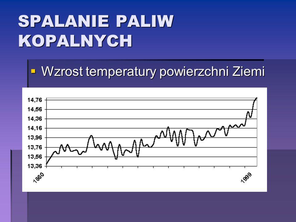 SPALANIE PALIW KOPALNYCH Wzrost temperatury powierzchni Ziemi Wzrost temperatury powierzchni Ziemi