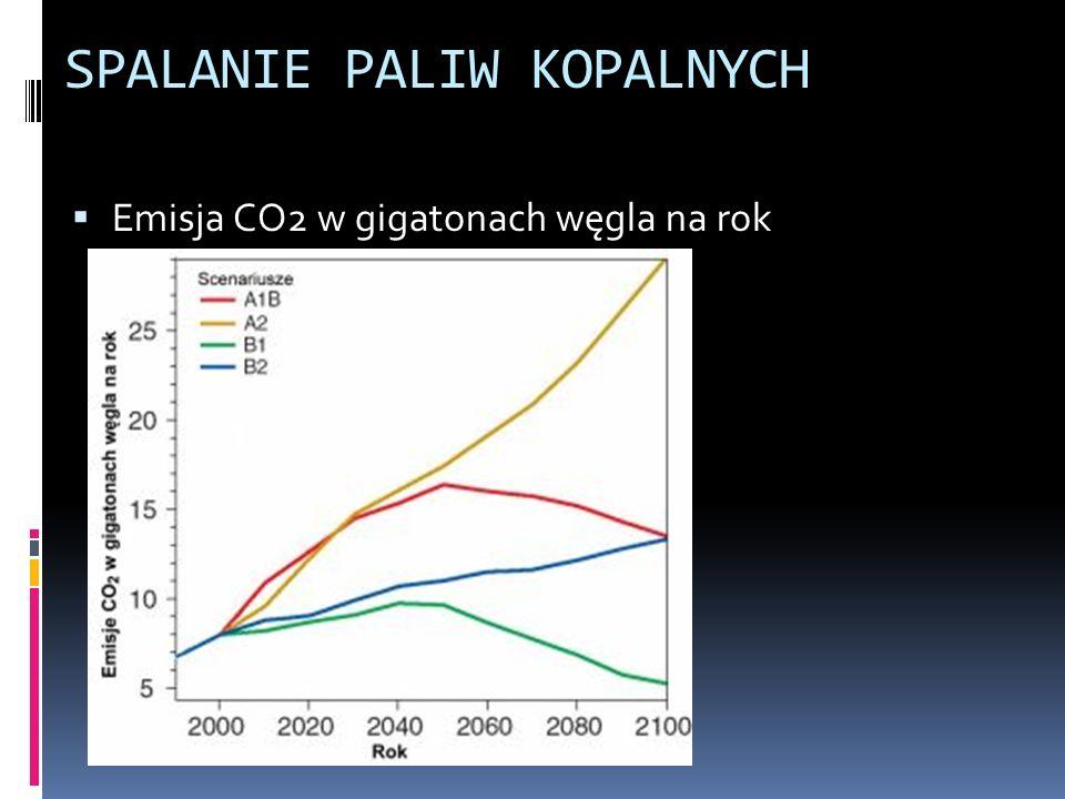 SPALANIE PALIW KOPALNYCH Emisja CO2 w gigatonach węgla na rok