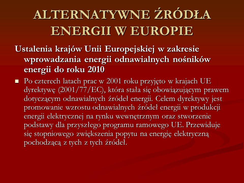 ALTERNATYWNE ŹRÓDŁA ENERGII W EUROPIE Ustalenia krajów Unii Europejskiej w zakresie wprowadzania energii odnawialnych nośników energii do roku 2010 Po czterech latach prac w 2001 roku przyjęto w krajach UE dyrektywę (2001/77/EC), która stała się obowiązującym prawem dotyczącym odnawialnych źródeł energii.