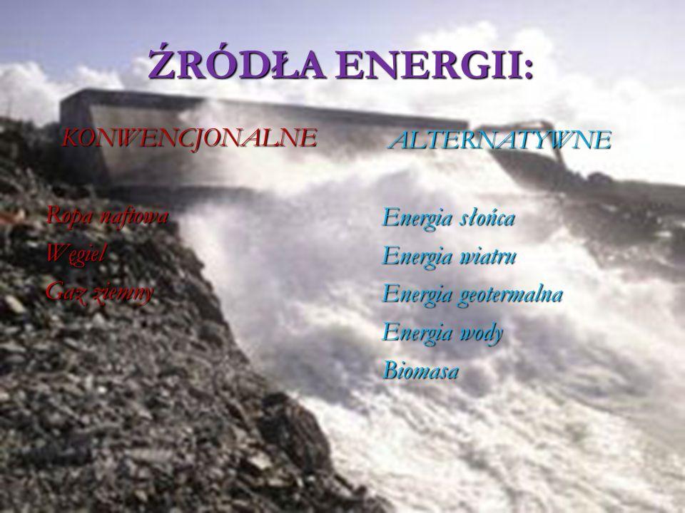 ALTERNATYWNE Energia słońca Energia wiatru Energia geotermalna Energia wody Biomasa KONWENCJONALNE Ropa naftowa Węgiel Gaz ziemny ŹRÓDŁA ENERGII: