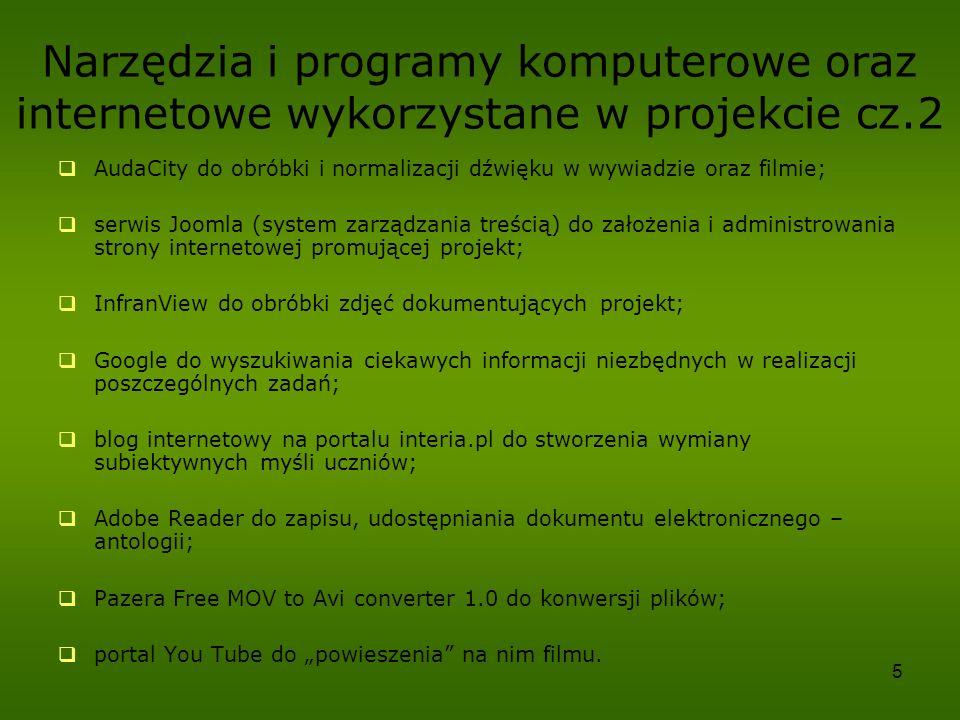 5 Narzędzia i programy komputerowe oraz internetowe wykorzystane w projekcie cz.2 AudaCity do obróbki i normalizacji dźwięku w wywiadzie oraz filmie;