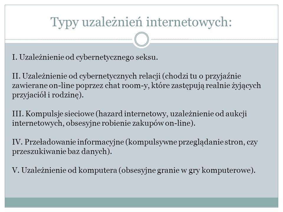 Typy uzależnień internetowych: I. Uzależnienie od cybernetycznego seksu. II. Uzależnienie od cybernetycznych relacji (chodzi tu o przyjaźnie zawierane