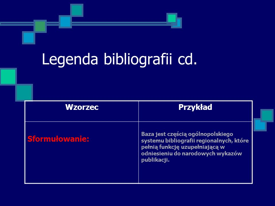 Legenda bibliografii cd.