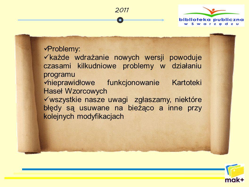 Problemy: każde wdrażanie nowych wersji powoduje czasami kilkudniowe problemy w działaniu programu nieprawidłowe funkcjonowanie Kartoteki Haseł Wzorco