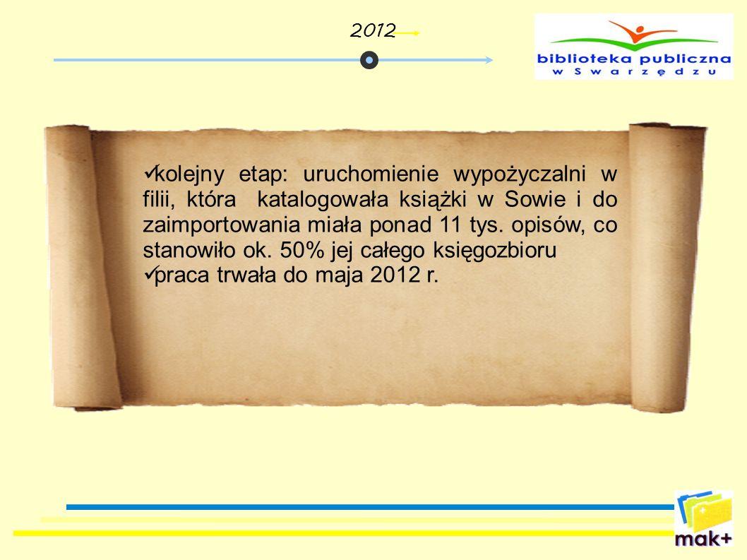 kolejny etap: uruchomienie wypożyczalni w filii, która katalogowała książki w Sowie i do zaimportowania miała ponad 11 tys. opisów, co stanowiło ok. 5
