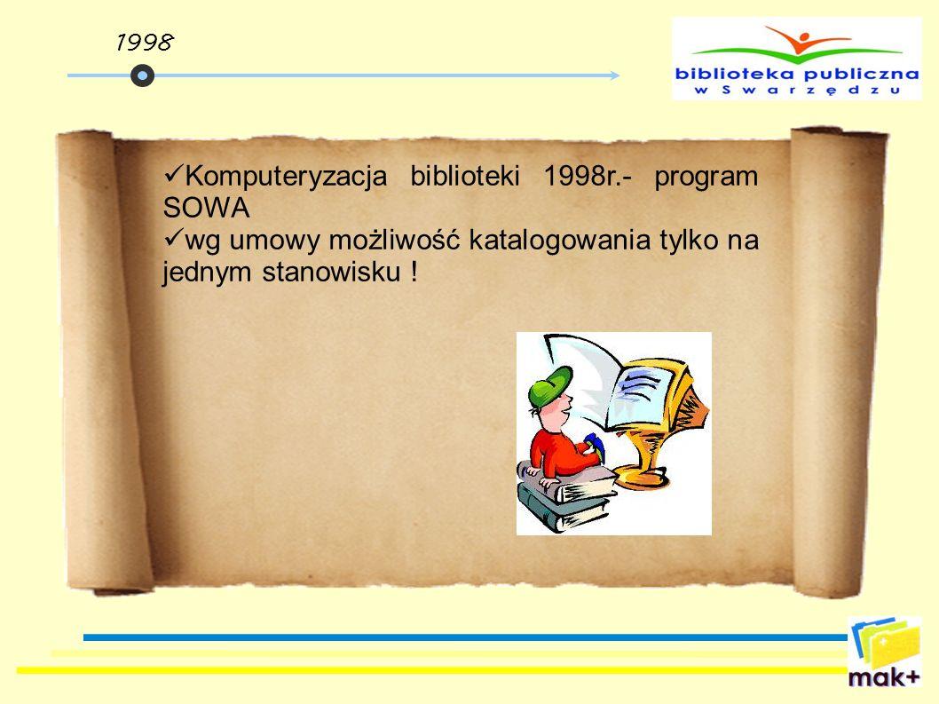 Komputeryzacja biblioteki 1998r.- program SOWA wg umowy możliwość katalogowania tylko na jednym stanowisku ! 1998