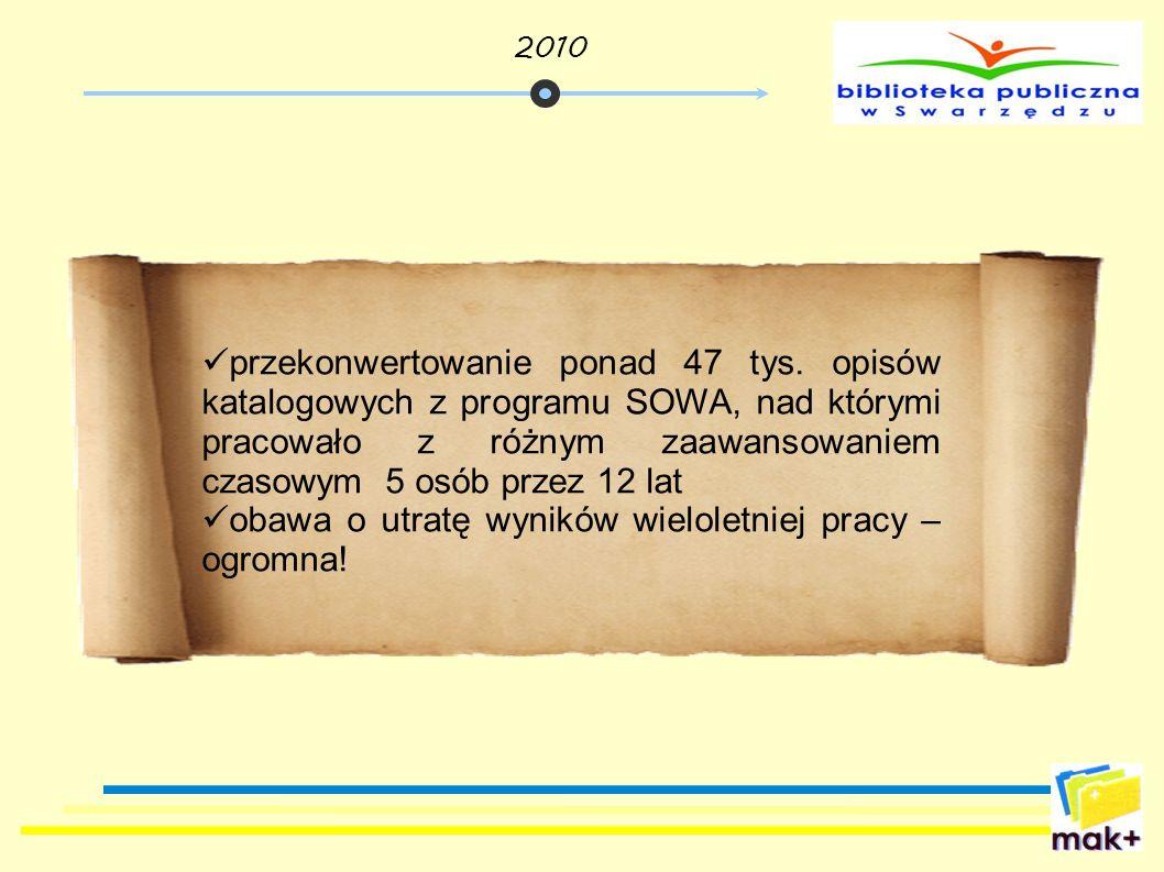 przekonwertowanie ponad 47 tys. opisów katalogowych z programu SOWA, nad którymi pracowało z różnym zaawansowaniem czasowym 5 osób przez 12 lat obawa