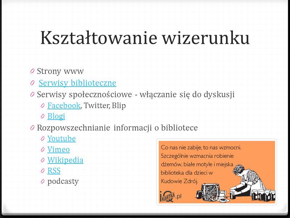 Kształtowanie wizerunku 0 Strony www 0 Serwisy biblioteczneSerwisy biblioteczne 0 Serwisy społecznościowe - włączanie się do dyskusji 0 Facebook, Twit