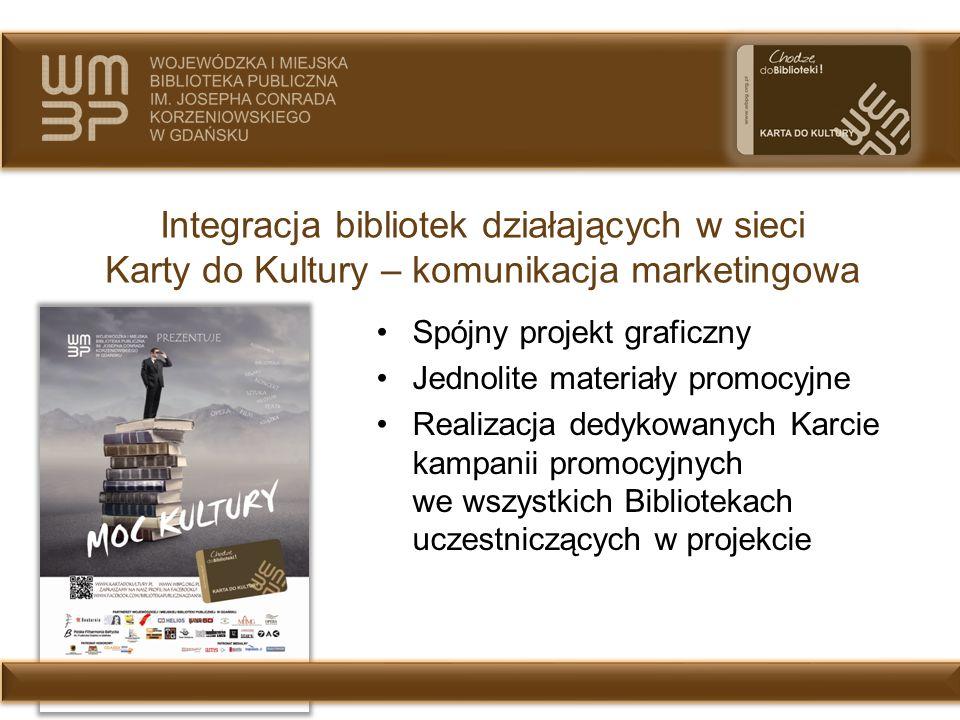 Integracja bibliotek działających w sieci Karty do Kultury – komunikacja marketingowa Spójny projekt graficzny Jednolite materiały promocyjne Realizac