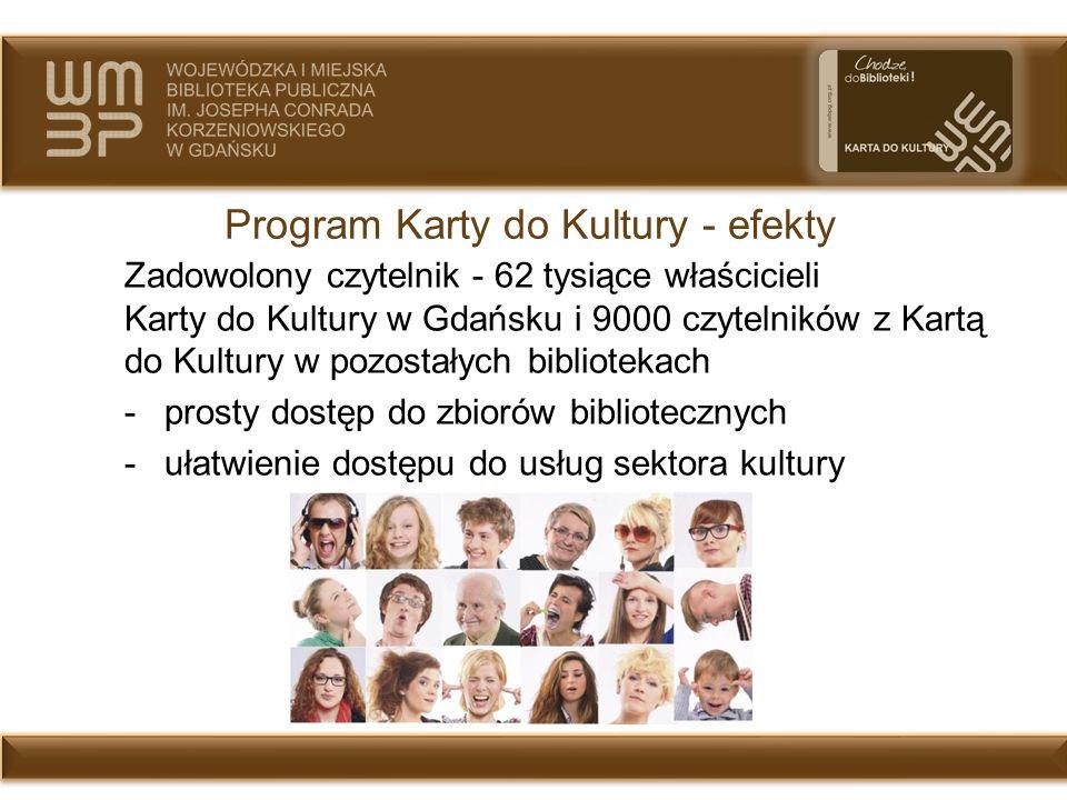 Program Karty do Kultury - efekty Zadowolony czytelnik - 62 tysiące właścicieli Karty do Kultury w Gdańsku i 9000 czytelników z Kartą do Kultury w poz