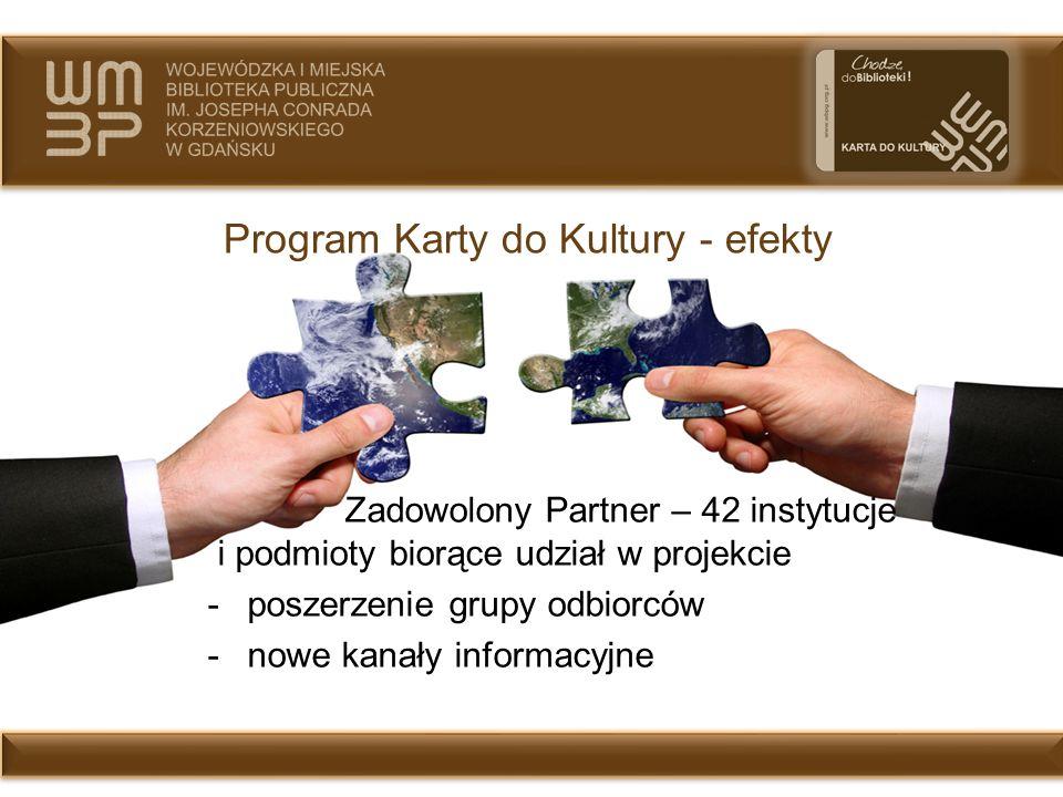 Program Karty do Kultury - efekty Zadowolony Partner – 42 instytucje i podmioty biorące udział w projekcie -poszerzenie grupy odbiorców -nowe kanały i